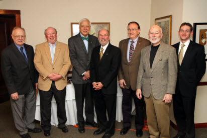 50-year ACS members honored this year at Recognition Night (left to right): Darwin Novak Jr, J Daniel Kelley, James E Bundschuh, David Garin, Anthony F Kardis, Harold Harris, and sneaking into the picture Eric Bruton, the current Section Chair