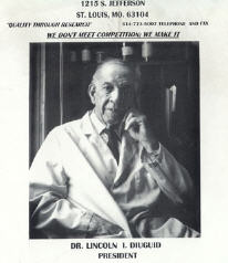 Dr. Lincoln Diuguid, shown in an advertising brochure for DuGood Chemicals